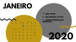 Agenda de feriados e datas comemorativas de janeiro de 2020